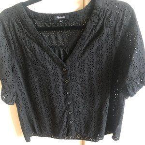 Eyelet Village Ruffle-Sleeve Shirt
